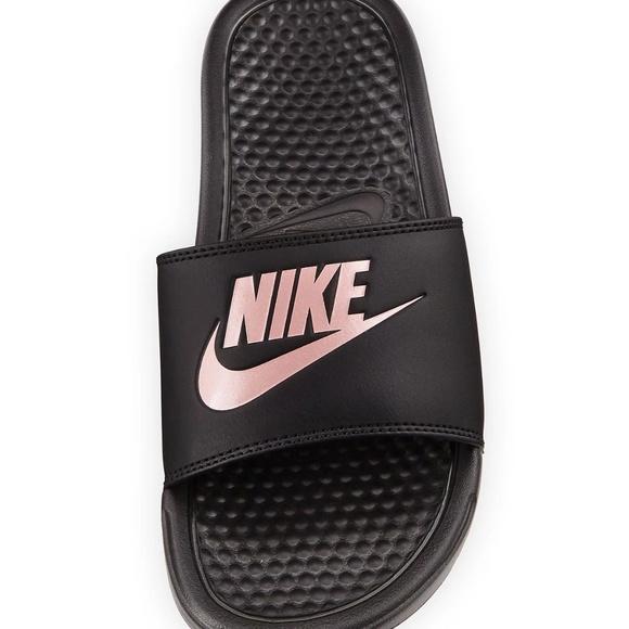 7a9388fc9982 NIKE Women BENASSI JUST DO IT Black Rose Sandals
